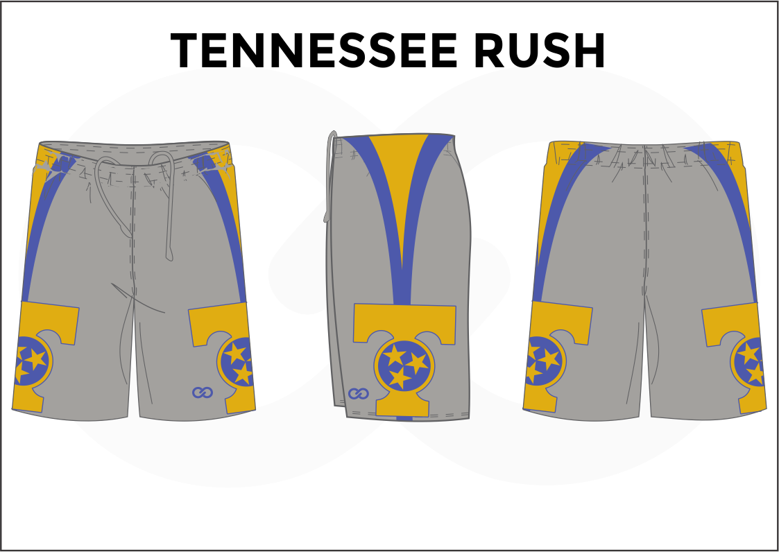 TENNESSEE RUSH Blue Gray and Yellow Youth Boys & Girls Basketball Shorts