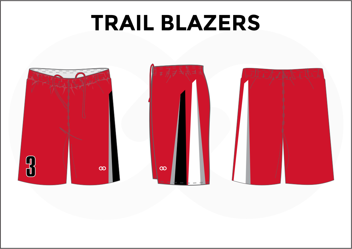 TRAIL BLAZERS Red Blue Black and White Youth Boys & Girls Basketball Shorts