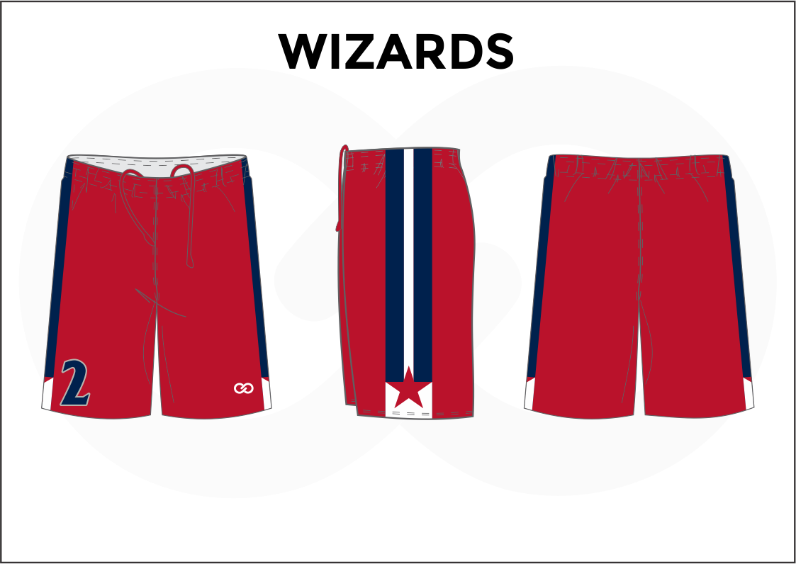 WIZARDS Red Blue and White Youth Boys and Girls Basketball Shorts