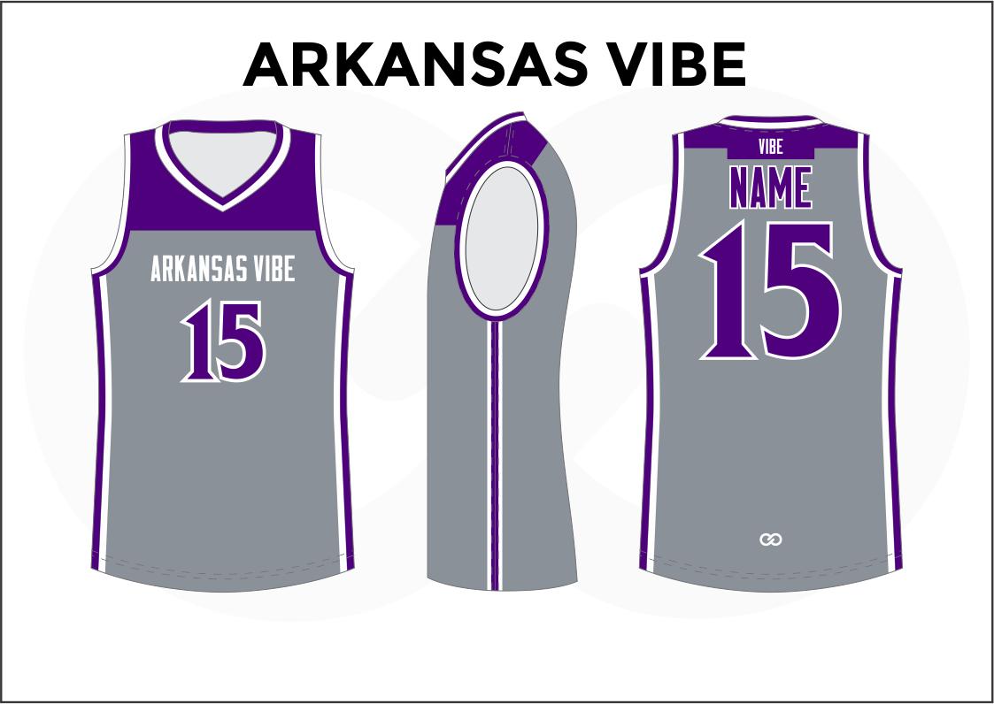 ARKANSAS VIBE Gray Violet and White Men's Basketball Jerseys