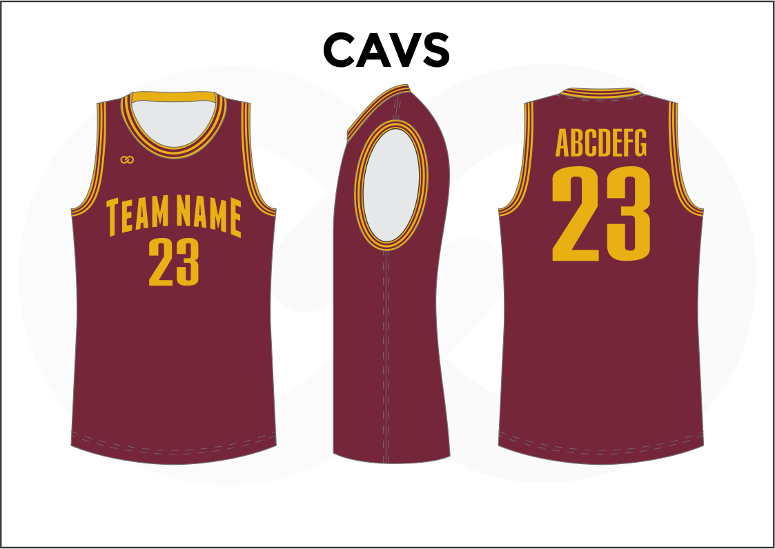 CAVS Maroon and Yellow Men's Basketball Jerseys