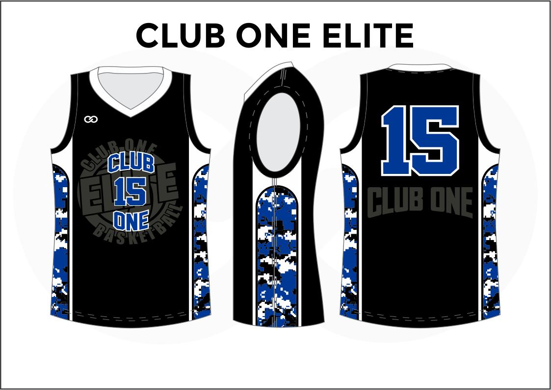 CLUB ONE ELITE Black Blue Gray white Men's Basketball Jerseys