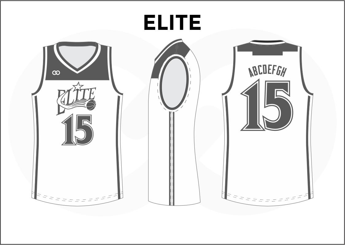 ELITE Black Gray and White Men's Basketball Jerseys