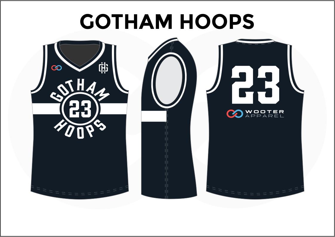 GOTHAM HOOPS Black Blue and White Women's Basketball Jerseys