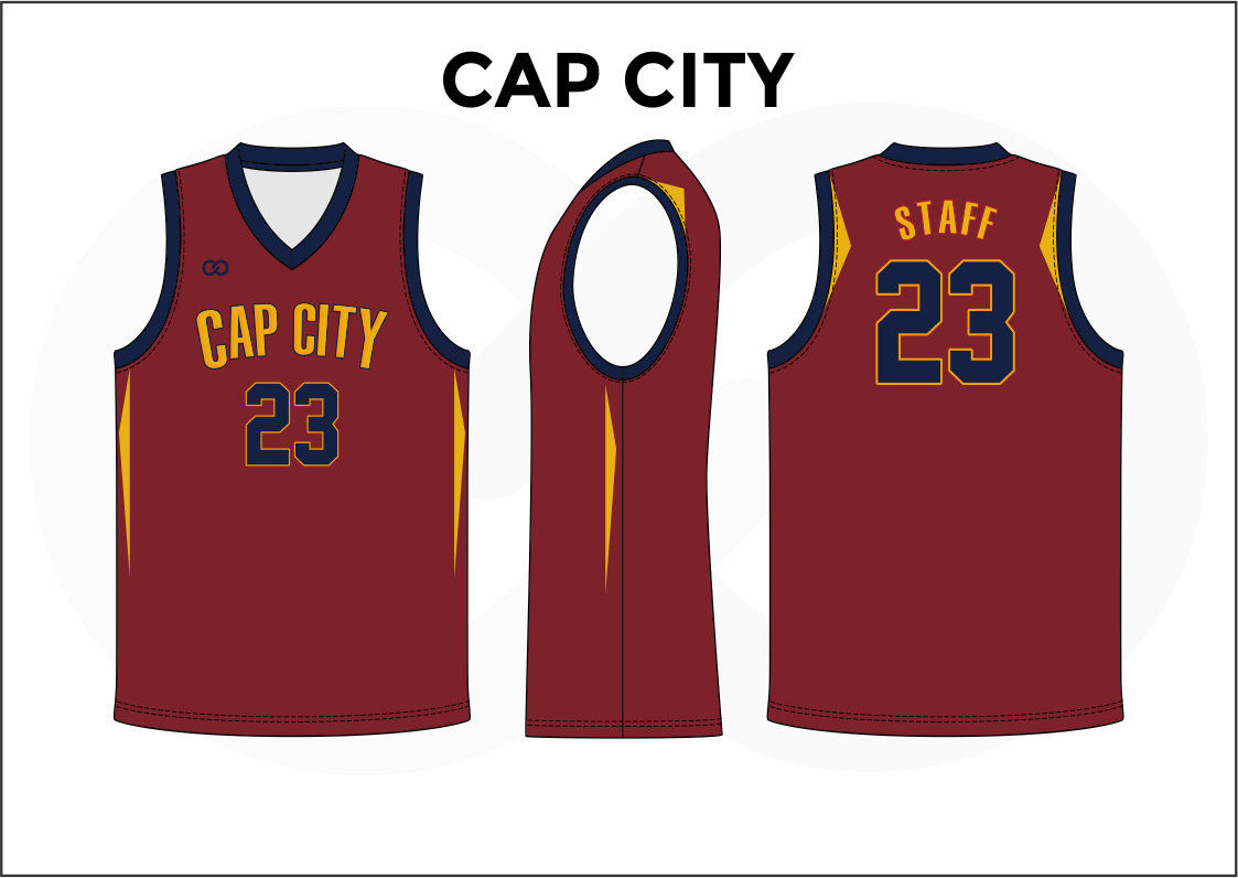 CAP CITY Red Black Blue and Yellow Reversible Basketball Jerseys