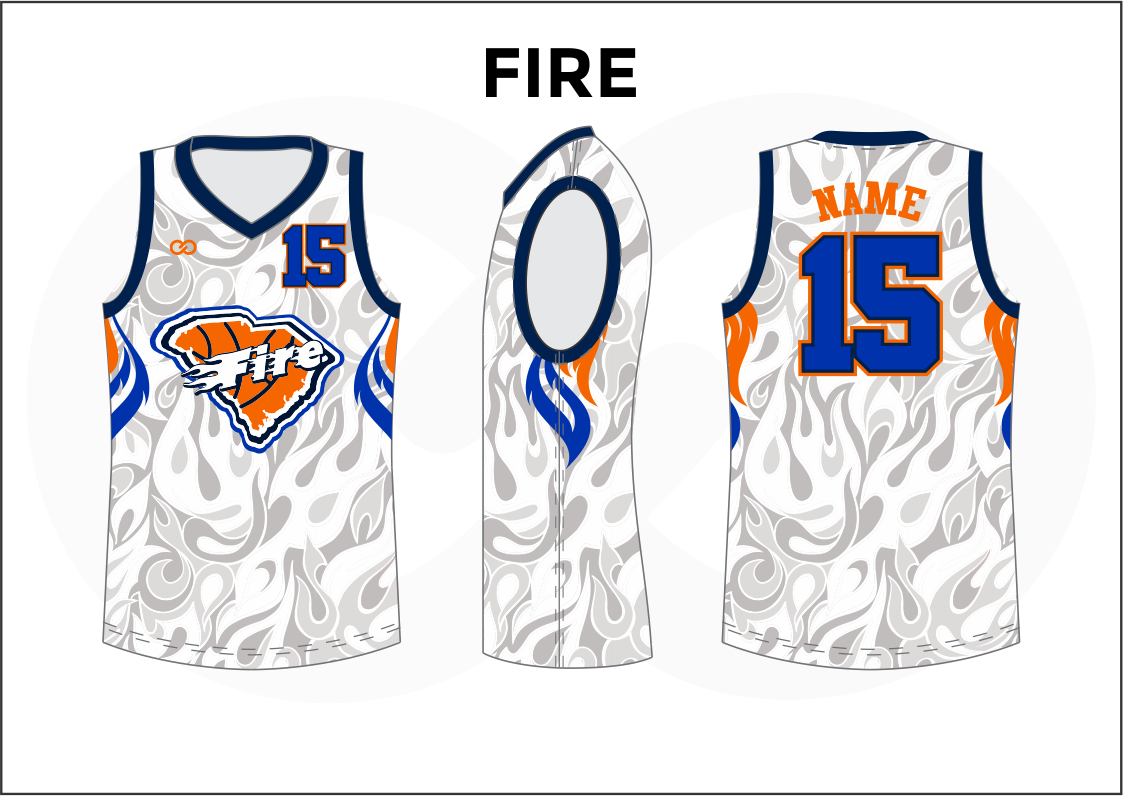 FIRE Blue Gray White and Orange Reversible Basketball Jerseys