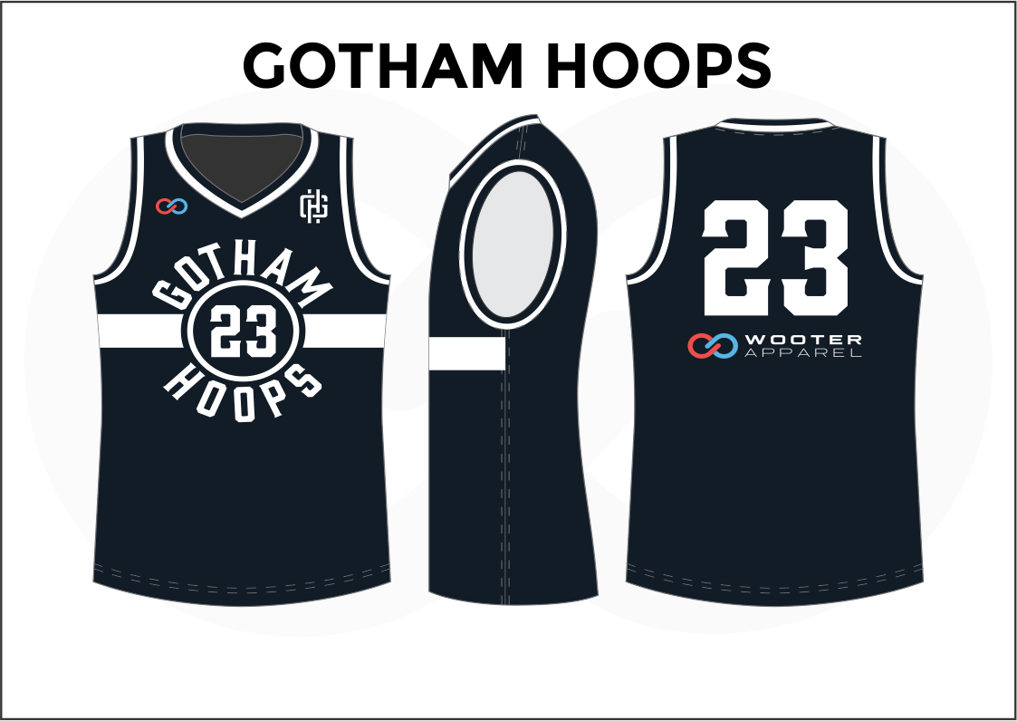 GOTHAM HOOPS Black Blue Red and White Reversible Basketball Jerseys