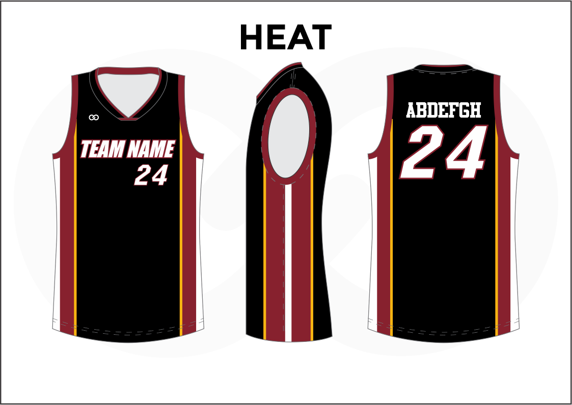 HEAT Black Red Yellow and White Reversible Basketball Jerseys