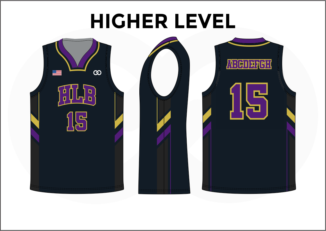 HIGHER LEVEL Black Violet Yellow and White Reversible Basketball Jerseys
