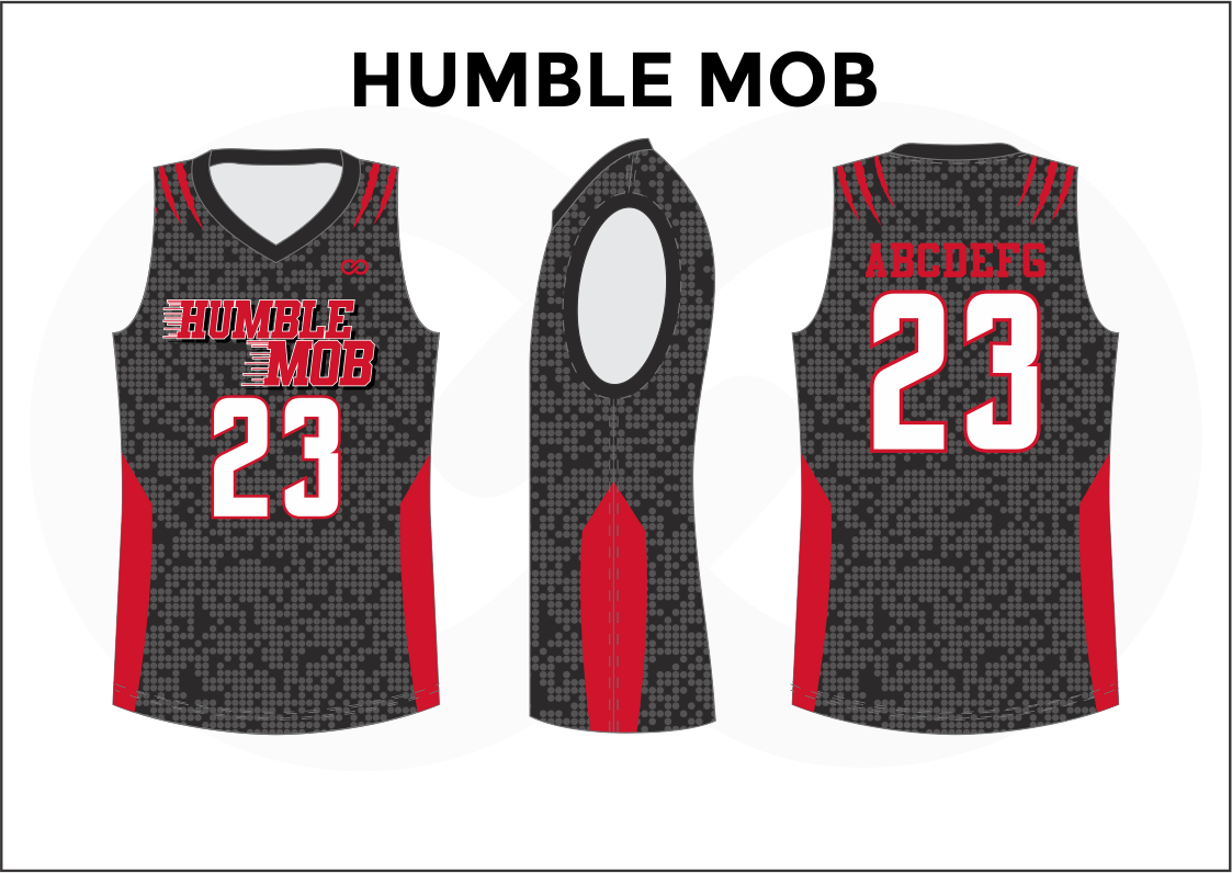HUMBLE MOB Black Gray Red and White Reversible Basketball Jerseys