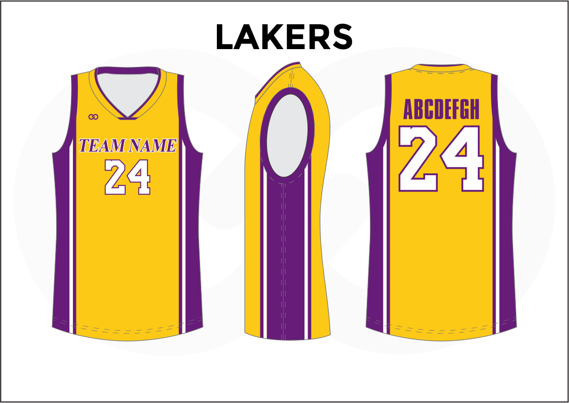 LAKERS Yellow Violet and White Reversible Basketball Jerseys