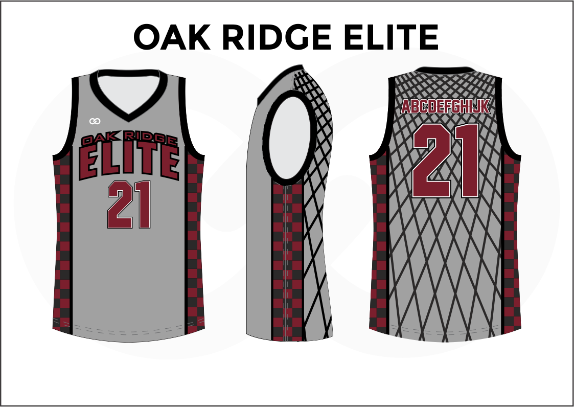 OAK RIDGE ELITE Gray White Black and Red Reversible Basketball Jerseys