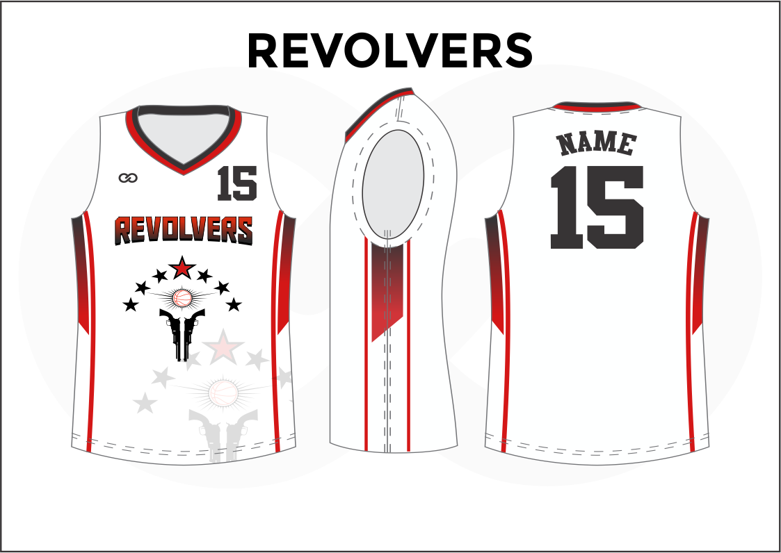 REVOLVERS Black Red and White Reversible Basketball Jerseys