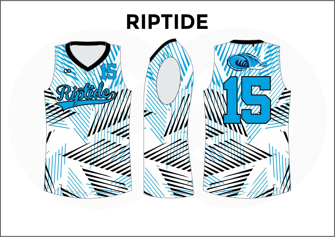 RIPTIDE Black Blue and White Reversible Basketball Jerseys
