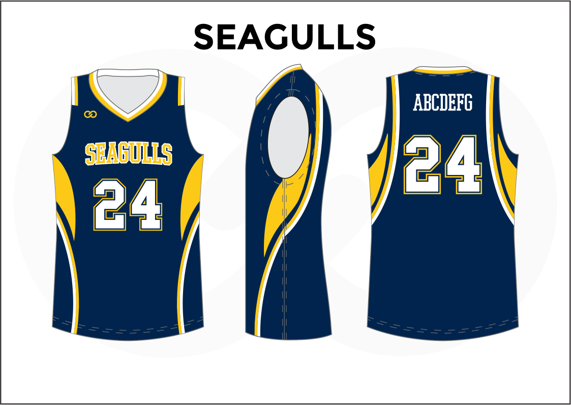 SEAGULLS Blue Yellow and White Reversible Basketball Jerseys