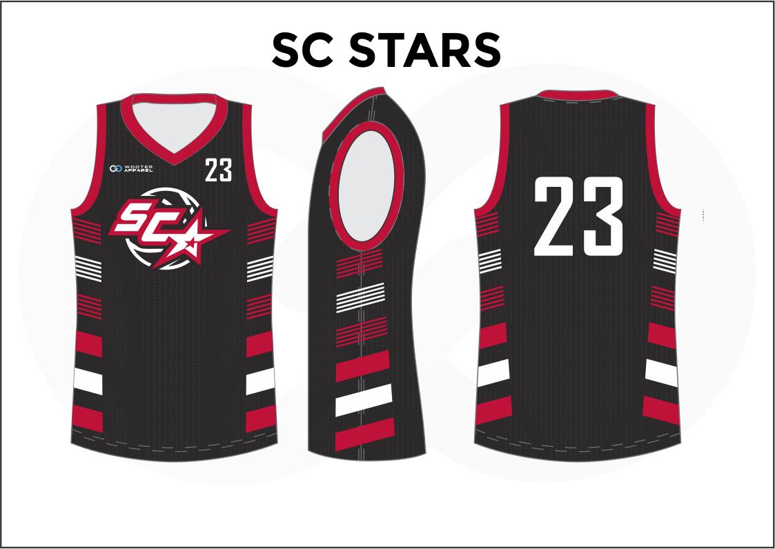 SC STARS Black Red Gray and White Reversible Basketball Jerseys