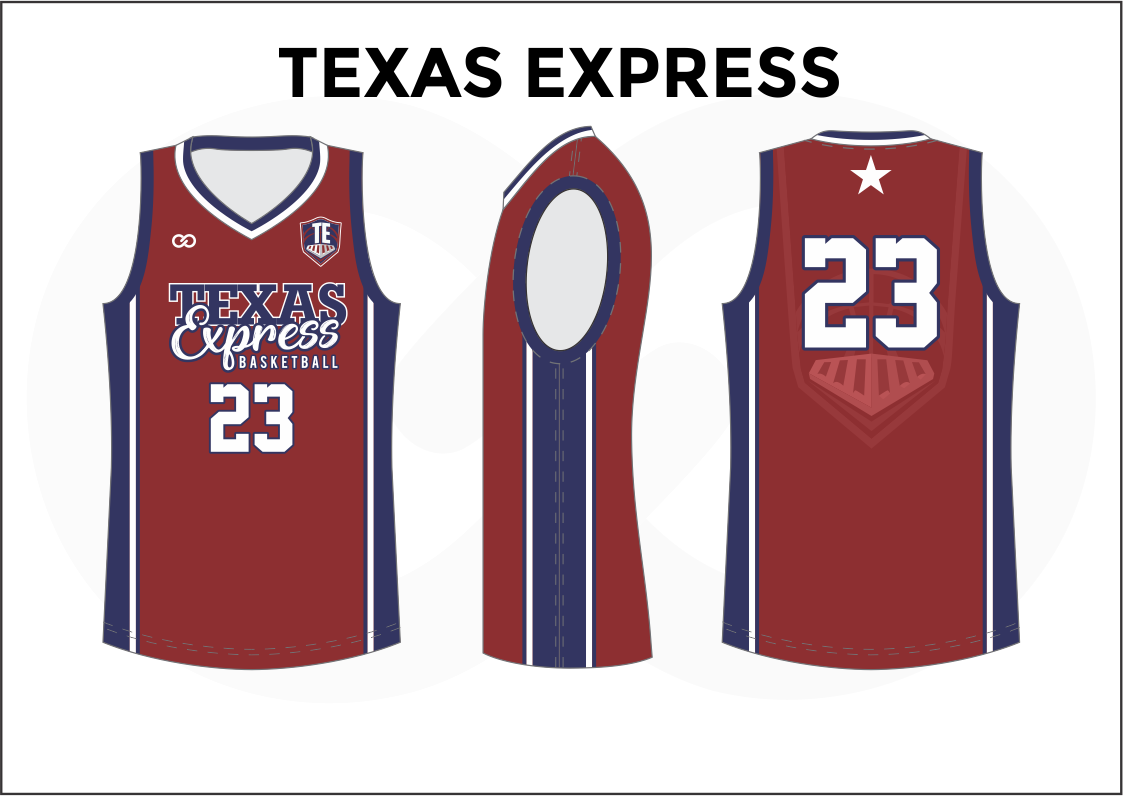 TEXAS EXPRESS Blue White and Red Reversible Basketball Jerseys