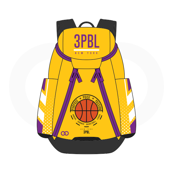 3PBL Yellow Violet Orange White and Black Basketball Backpacks Nike Elite