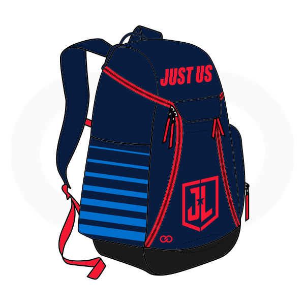 JUST US Blue Sky Blue and Red Basketball Backpacks Nike Elite