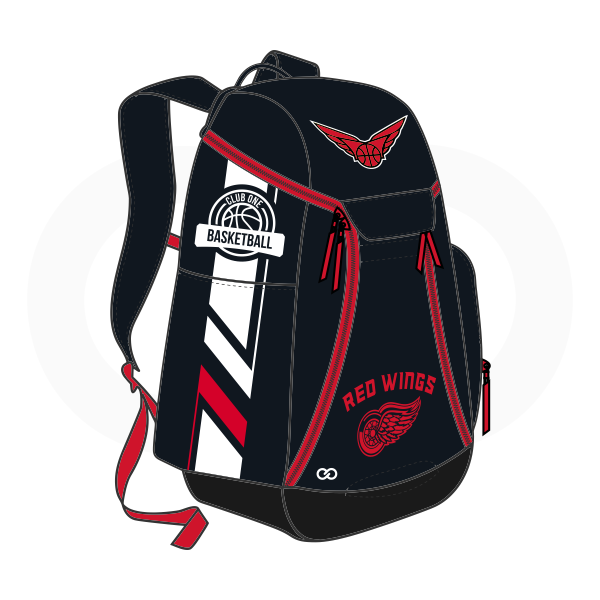 RED WINGS Red White and Black Basketball Backpacks Nike Elite