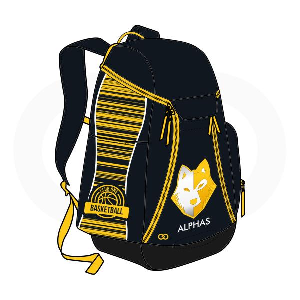 ALPHAS Black White and Yellow Basketball Backpacks Nike Elite