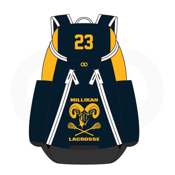 MILLIKAN LACROSSE Blue Black White and Yellow Basketball Backpacks Nike Elite