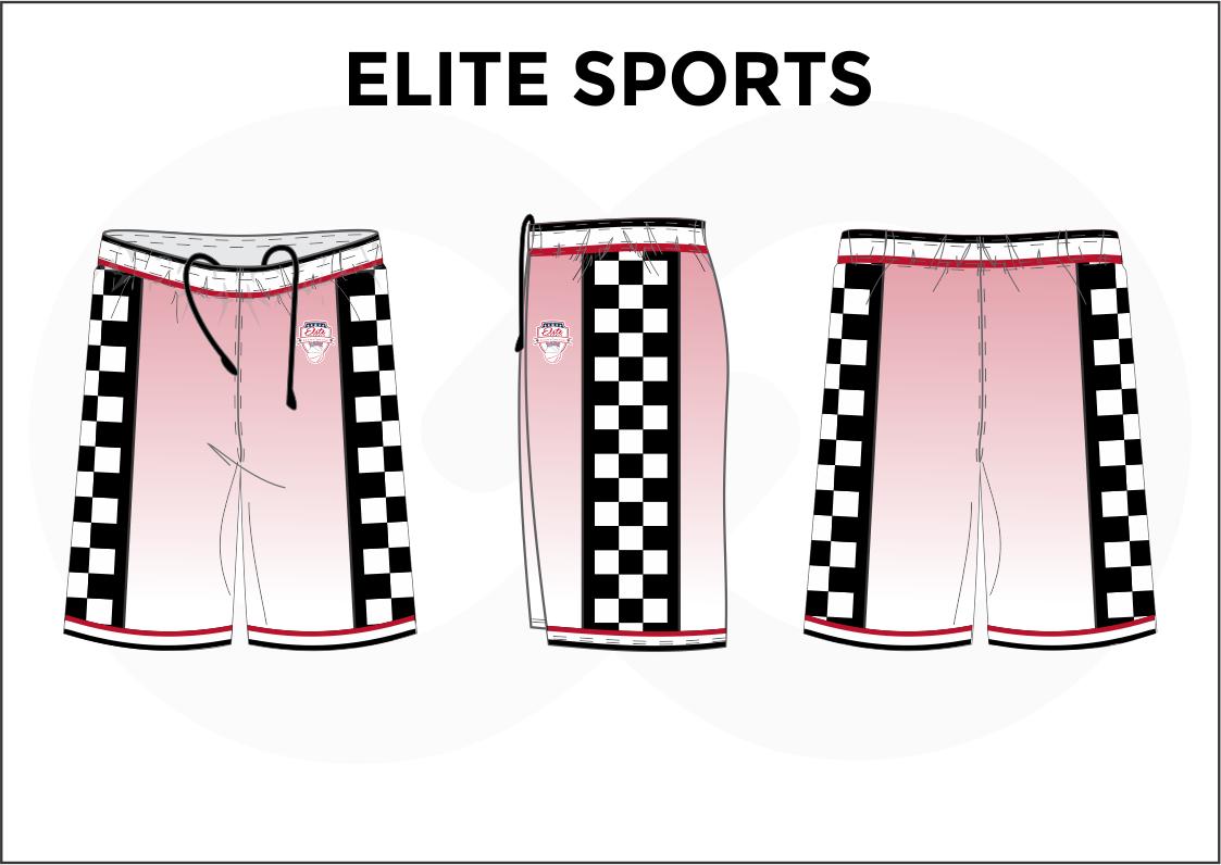 ELITE SPORTS Red Black White Basketball Uniform Shorts