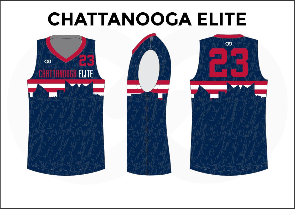 CHATTANOOGA ELITE White Red Blue Basketball Uniform Jersey