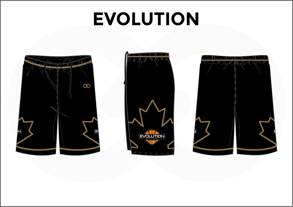 EVOLUTION Black Yellow White Orange Basketball Uniform Shorts