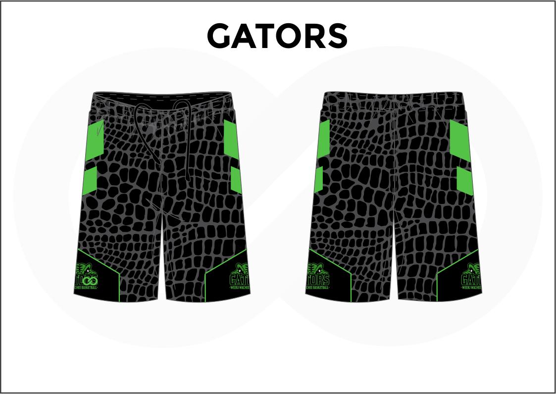 GATORS Black Green Basketball Uniform Shorts