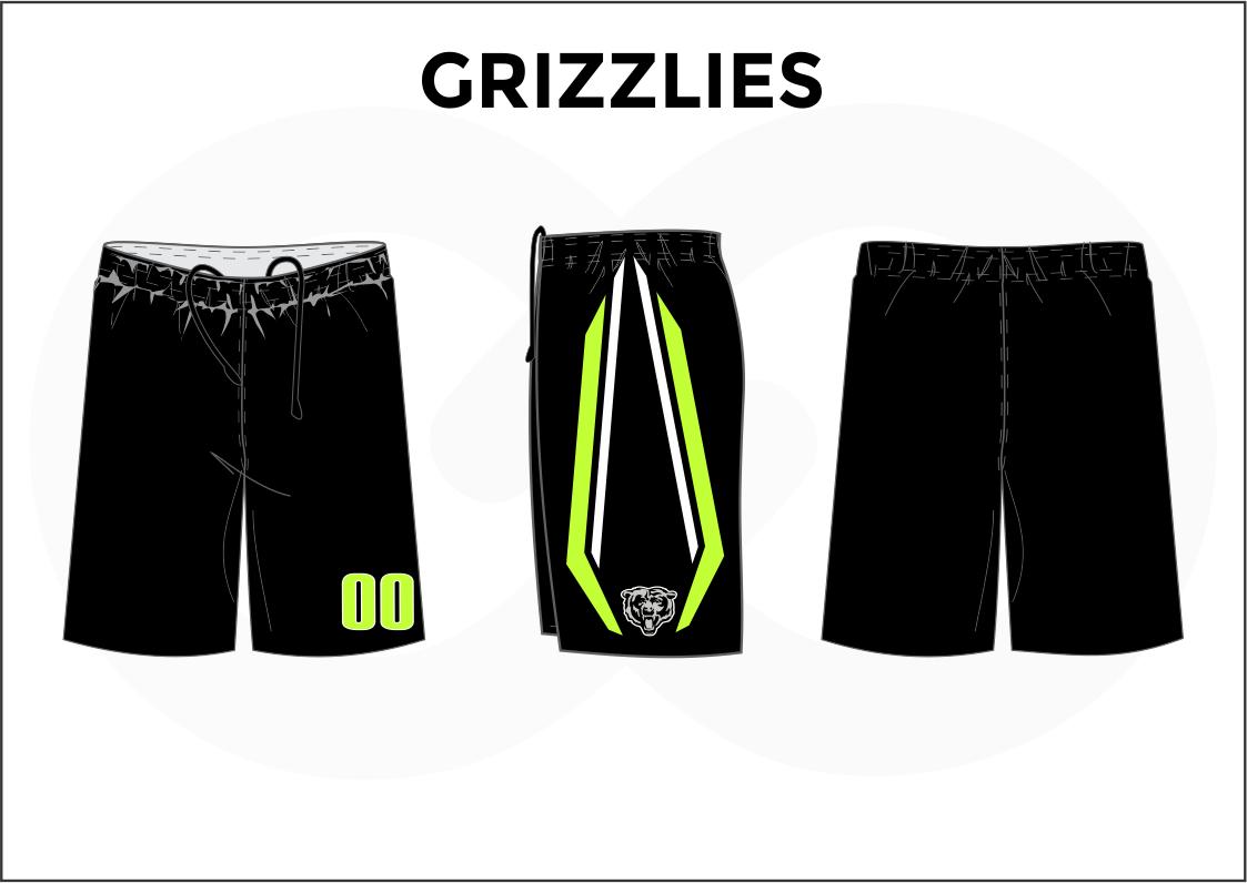GRIZZLIES Black Green White Basketball Uniform Shorts