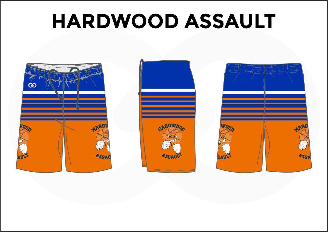 HARDWOOD ASSAULT Blue Orange White Basketball Uniform Shorts