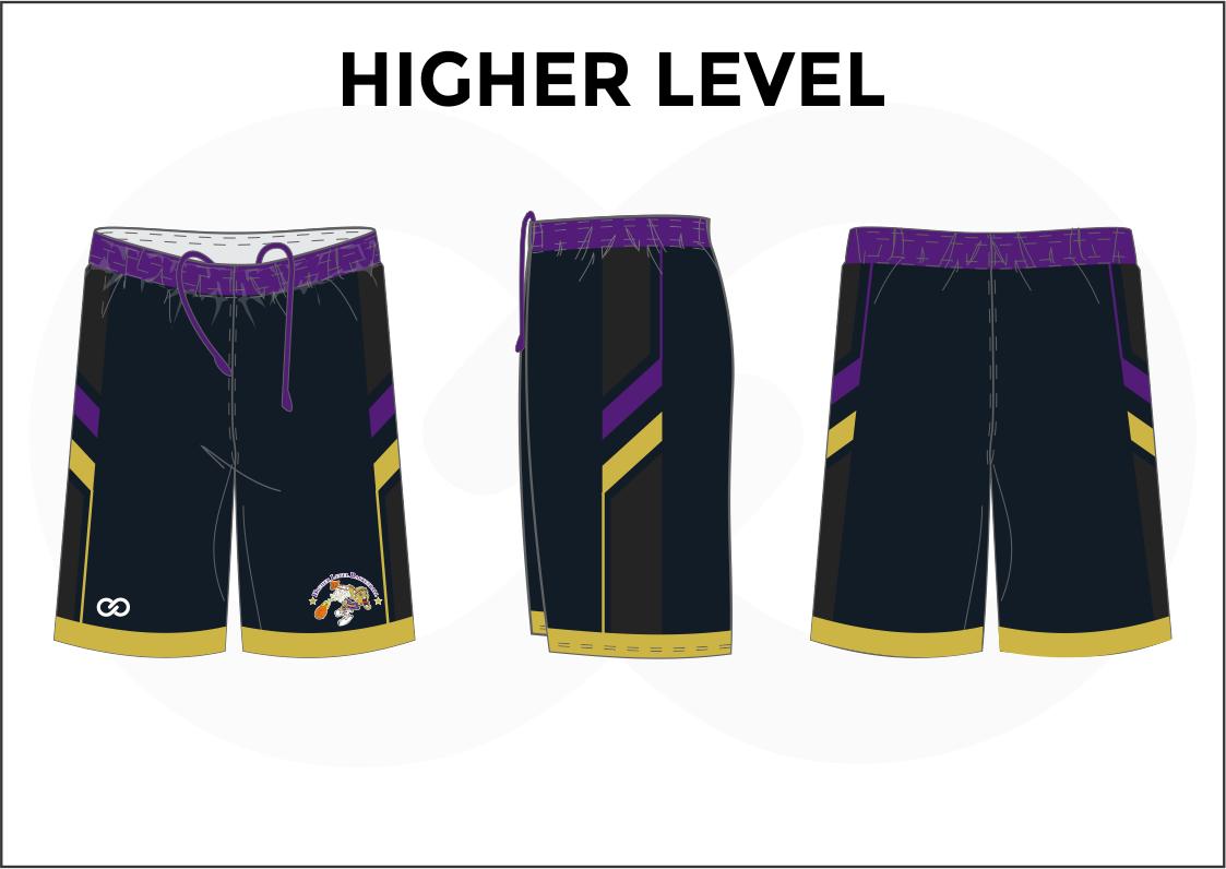 HIGHER LEVEL Black Lavender Yellow Basketball Uniform Shorts
