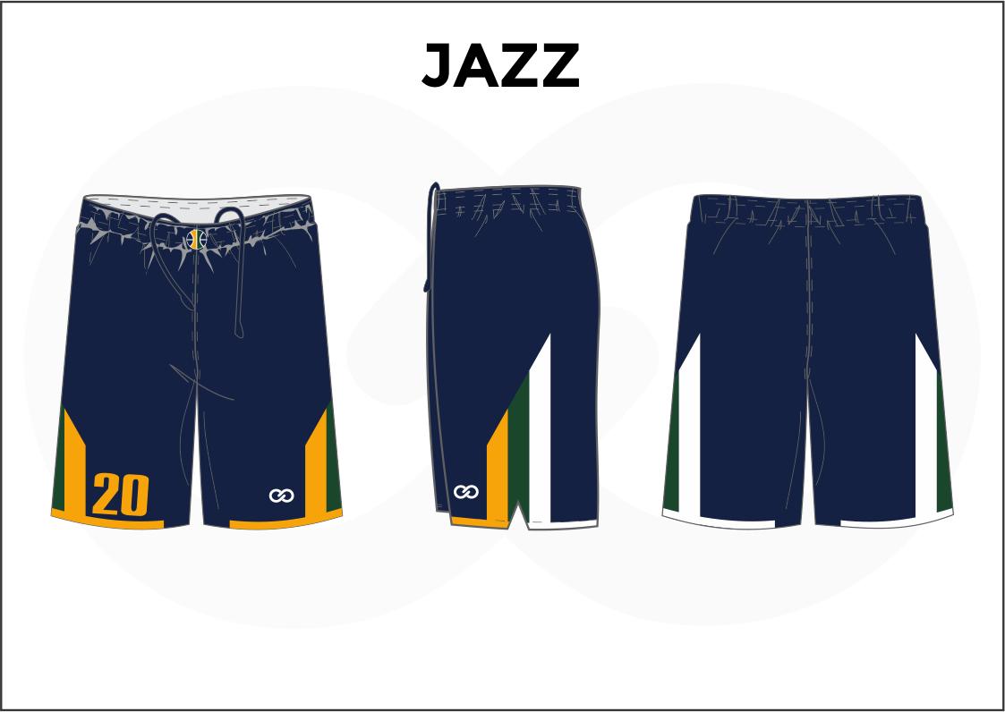 JAZZ Blue Yellow White Basketball Uniform Shorts