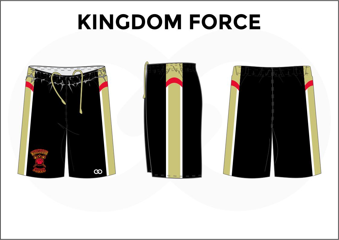 KINGDOM FORCE Black Red White Beige Basketball Uniform Shorts