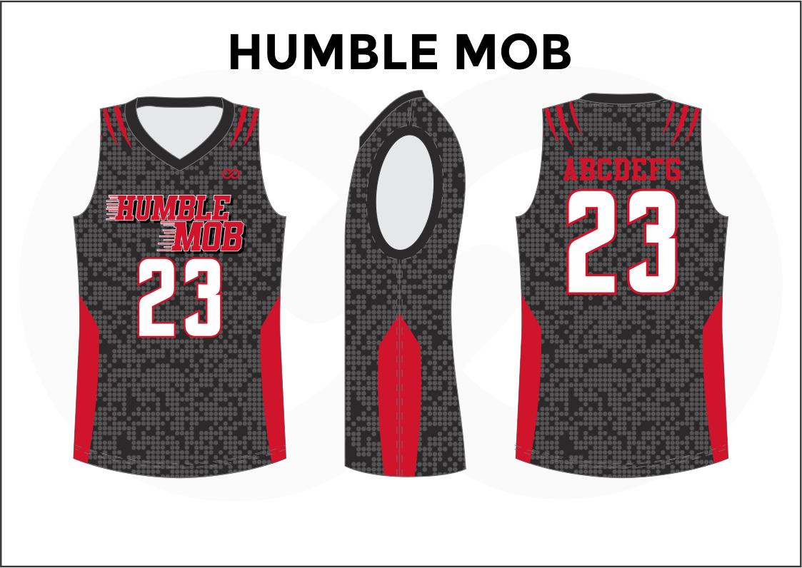 HUMBLE MOB Red Black White Basketball Uniform Jersey