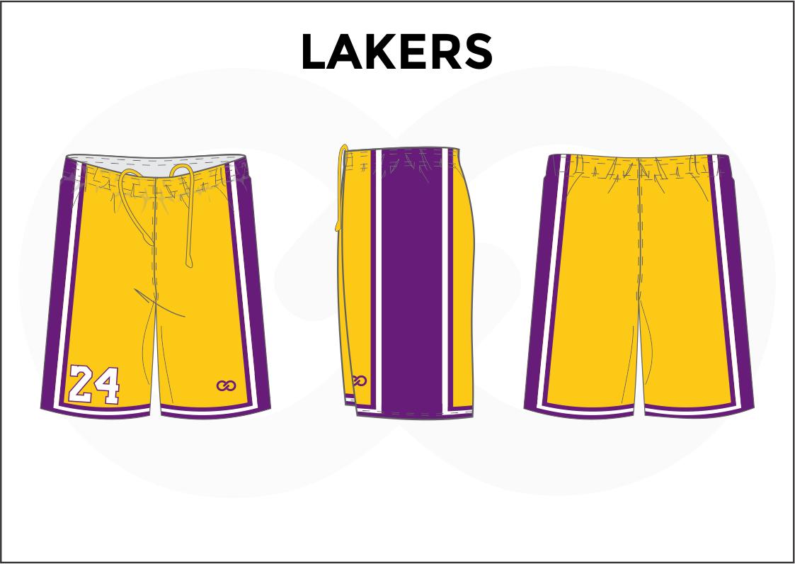 LAKERS Yellow Lavender White Basketball Uniform Shorts