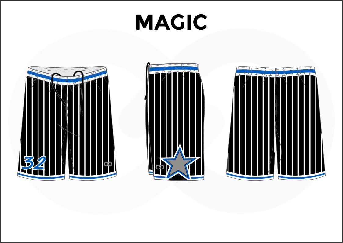 MAGIC Black Blue White Basketball Uniform Shorts