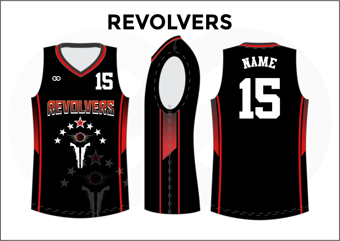REVOLVERS Black Red White Basketball Uniform Jersey