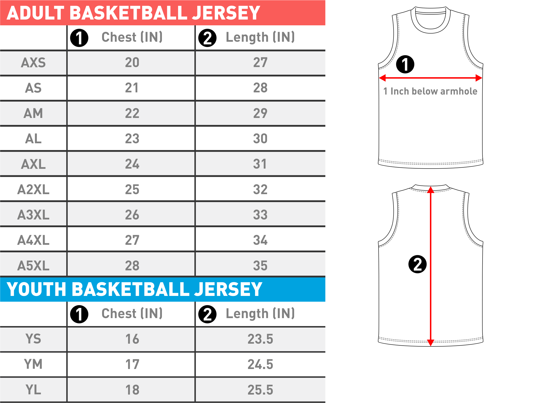 jersey sizes by number