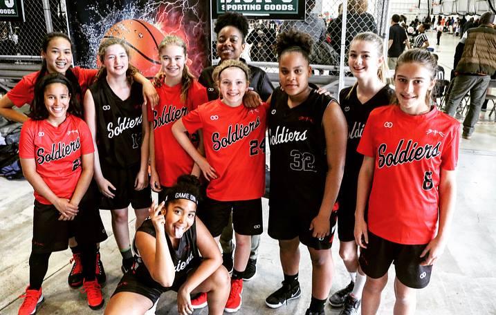 Women's SOLDIERS Orange Black White basketball uniforms, jerseys, and shorts