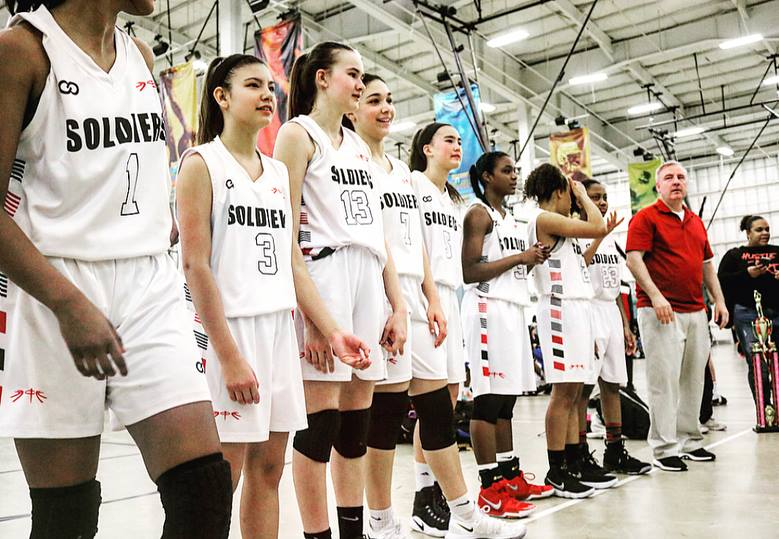 Women's SOLDIERS White Black Red basketball uniforms, jerseys, and shorts