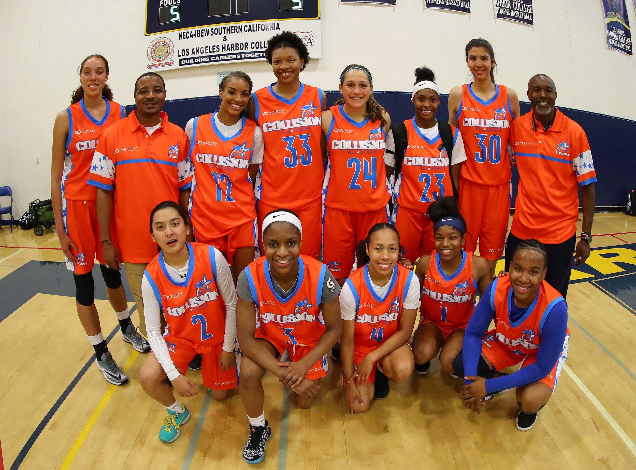 Women's COLLISION Orange Blue White basketball uniforms, jerseys and shorts