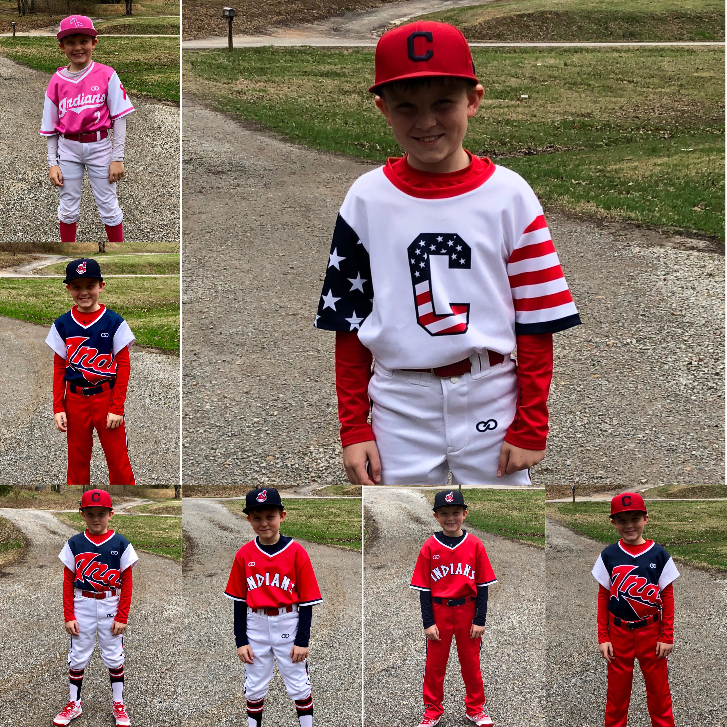 INDIANS Red White Navy Blue Pink Black Baseball Uniforms, Jerseys Shirts, and Pants