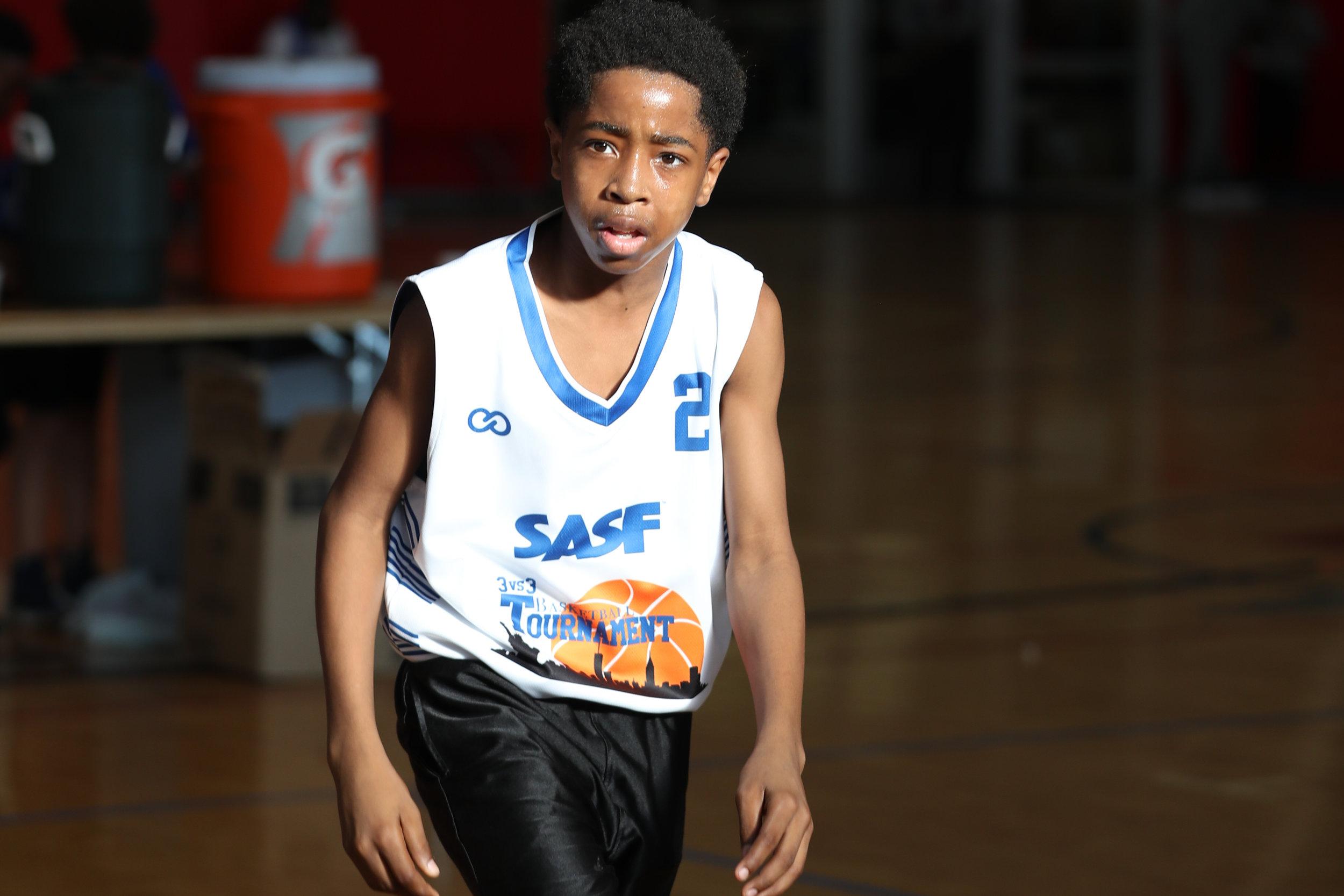 SASF white blue orange black Youth Basketball Uniforms, jerseys, and shorts