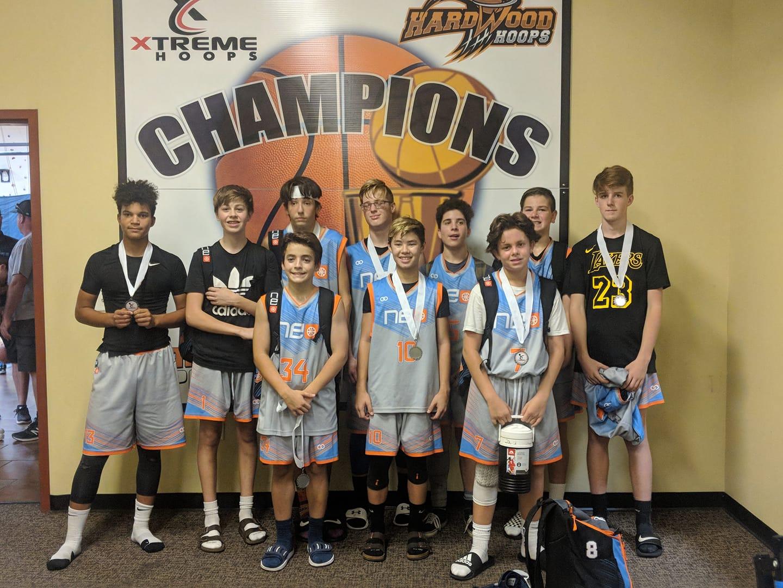 Youth NEO Gray Blue White Orange basketball uniforms, jerseys, and shorts