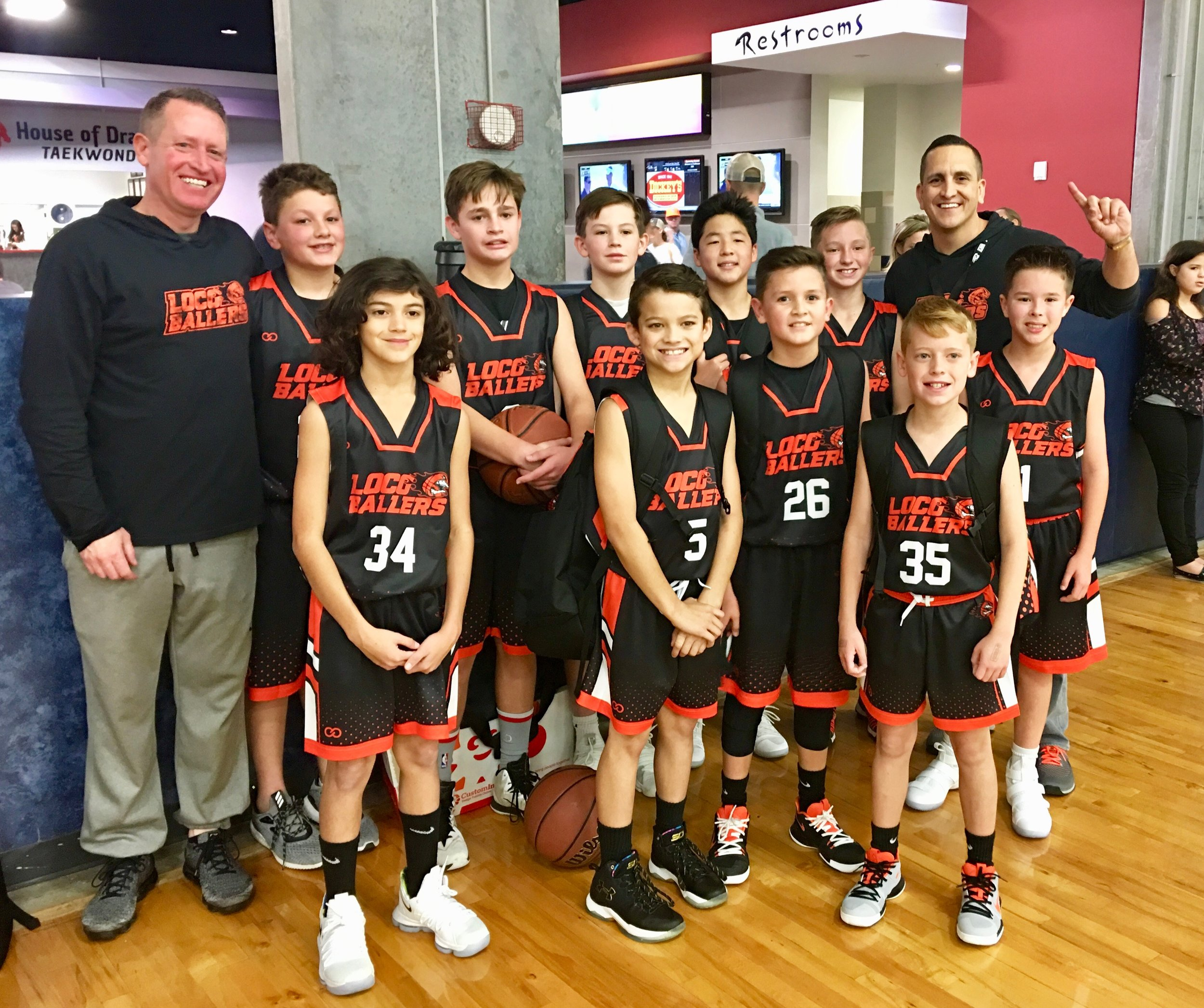 Youth LOCG Black White Red basketball uniforms, jerseys, and shorts