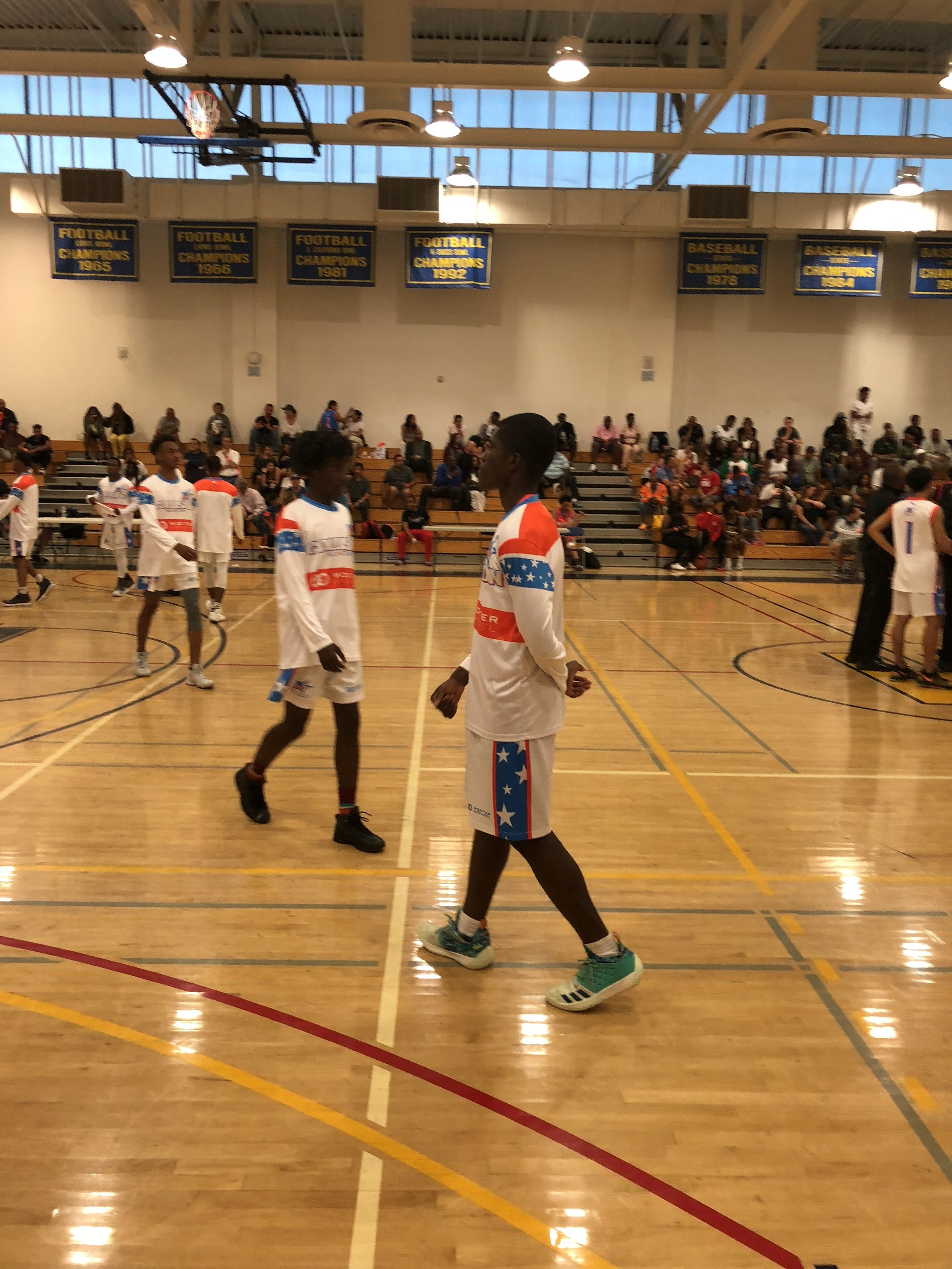 Youth COLLISION White Blue Orange basketball uniforms, long-sleeves, and shorts