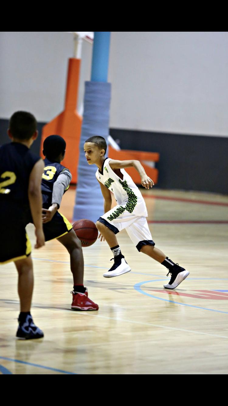Youth MAMBA White Black Green basketball uniforms, jerseys, and shorts