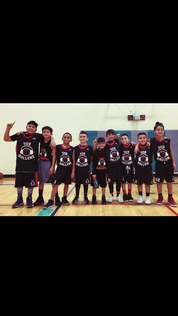 Youth 509 BALLERZ Black White Red basketball uniforms, jerseys, and shorts